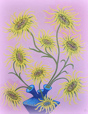 Painting - Sunflowers On Pink by Marie Schwarzer