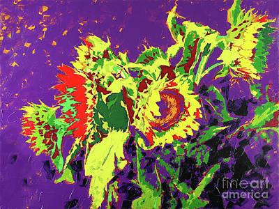 Wall Art - Painting - Sunflowers On Purple by Anatoli Titarenko