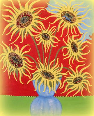 Painting - Sunflowers On Red by Marie Schwarzer