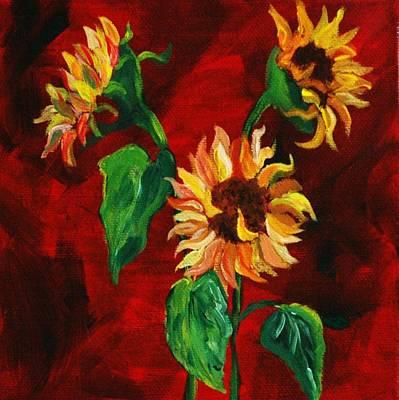 Painting - Sunflowers On Rojo by Melinda Etzold