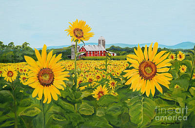 Painting - Sunflowers On Route 45 - Pennsylvania- Autumn Glow by Jan Dappen