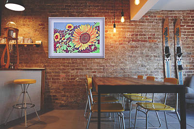 Mixed Media - Sunflowers On The Cafe Wall by Clive Littin