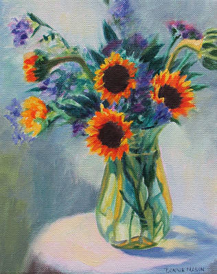 Sunflowers On The Porch Art Print by Bonnie Mason