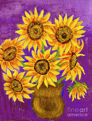 Painting - Sunflowers On Violet by Irina Afonskaya