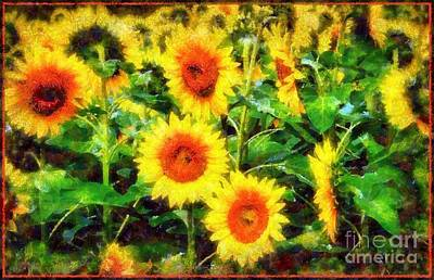 Photograph - Sunflowers Parade In A Field by Janine Riley