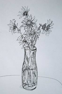 Drawing - Sunflowers by Pete Maier