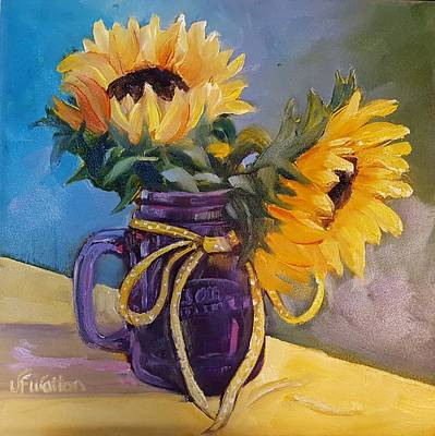 Painting - Sunflowers/ Purple Mug by Judy Fischer Walton