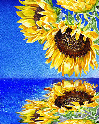 Royalty-Free and Rights-Managed Images - Sunflowers Reflection by Irina Sztukowski by Irina Sztukowski