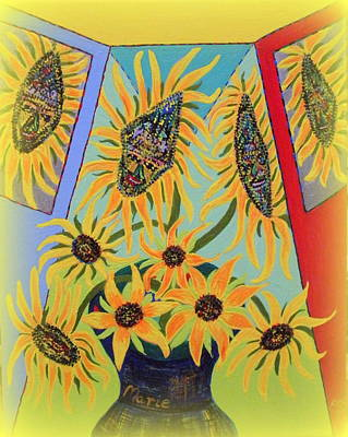 Painting - Sunflowers Rhapsody by Marie Schwarzer