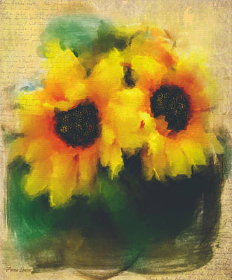 Photograph - Sunflowers Softly by Anna Louise