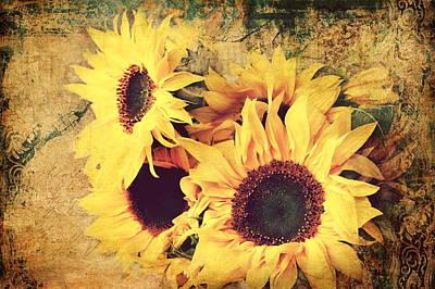Sunflowers Still Life Art Print by Heike Hultsch