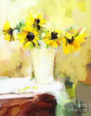 Sunflowers  Study Art Print by Carrie Joy Byrnes