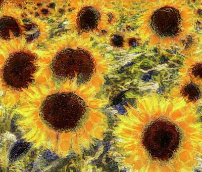 Mixed Media - Sunflowers Summer Van Gogh by David Pyatt
