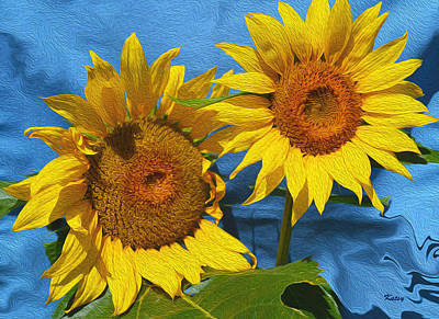 Digital Sunflower Painting - Sunflowers- Sunny Day- Floral Art by Kathy  Symonds
