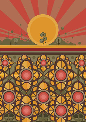 Sunflowers Digital Art - Sunflowers Sunset by Bekim Art
