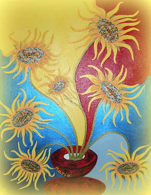 Painting - Sunflowers Symphony by Marie Schwarzer