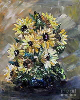 Art Print featuring the painting Sunflowers by Teresa Wegrzyn
