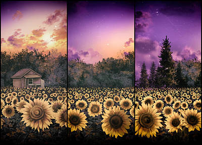 Painting - Sunflowers Triptych 2 by Bekim Art