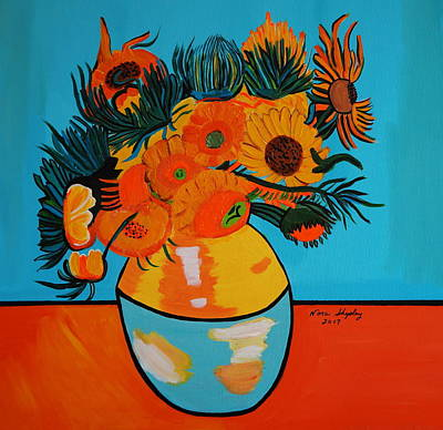 Painting - Sunflowers Van Gogh by Nora Shepley