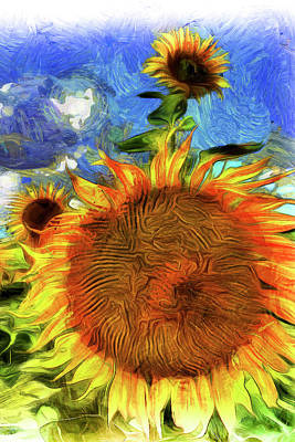 Impressionism Photos - Sunflowers Van Gogh Art by David Pyatt