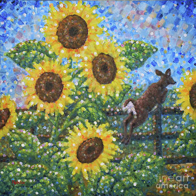Semi-abstract Landscape Painting - Sunflowers / White Tail Jumping by Jim Rehlin