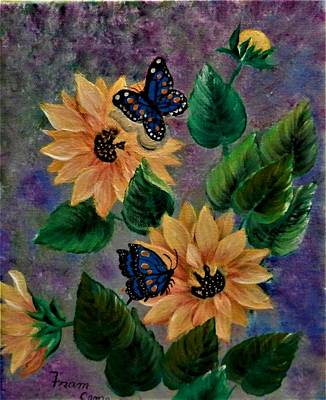 Painting - Sunflowers With Butte by Fram Cama