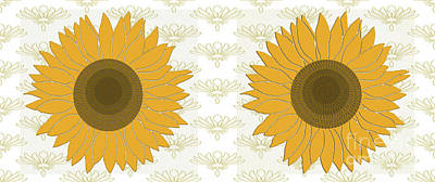 Digital Art - Sunflowers Yellow  by Mary Bellew