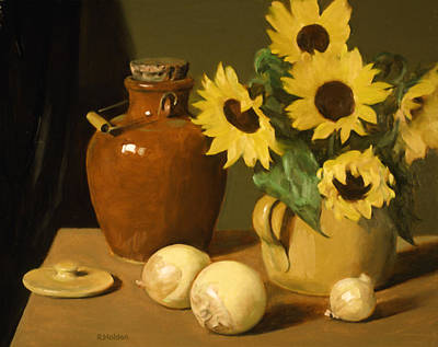 Painting - Sunflowers,onions And Sake Jug by Robert Holden