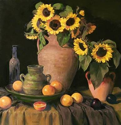Painting - Sunflowers And Fruit by Robert Holden