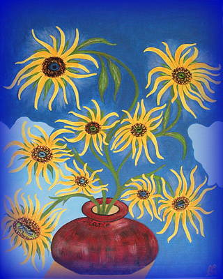 Painting - Sunflowers On Navy Blue by Marie Schwarzer