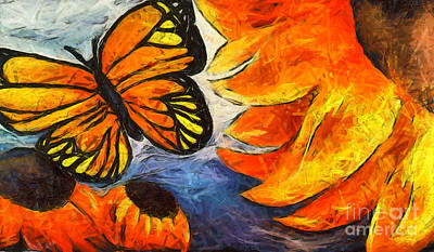 Orange And Black Butterfly Painting - Sunfowers And Butterflies by Teresa Henry