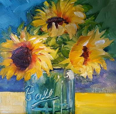 Painting - Sunfowers/blue Ball Jar by Judy Fischer Walton