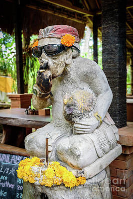 Photograph - Sunglass Wearing Smoking Statue On Campuhan Ridge Walk In Ubud, Bali by Global Light Photography - Nicole Leffer