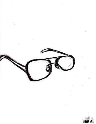 Long Center Drawing - Sunglasses by Levi Glassrock