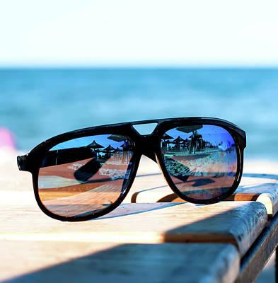 Sunglasses Lie On A Beach On Sand Art Print