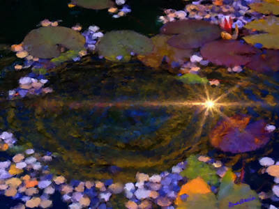 Digital Art - Sunglint On Autumn Lily Pond I by Anastasia Savage Ealy