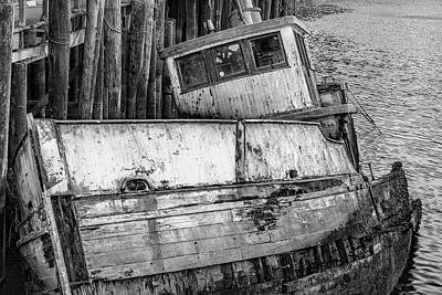 Photograph - Sunken Boat In Noyo Harbor B And W II by Bill Gallagher
