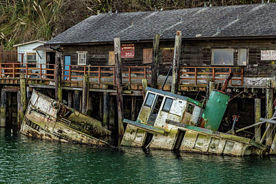 Door Locks And Handles Rights Managed Images - Sunken Boat In Noyo Harbor Royalty-Free Image by Bill Gallagher