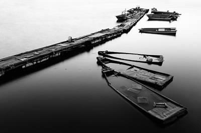 Photograph - Sunken Boats by Roy Cruz