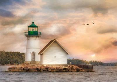 Lighthouse Mixed Media - Sunken Rock At Sunrise by Lori Deiter
