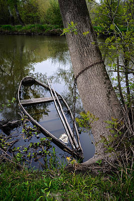 Photograph - Sunken Rowboat by Marco Oliveira
