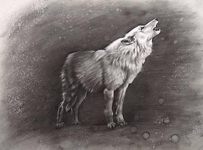 Wolves Drawing - Sunkmanitu Tanka / The Wolf by Dave Kobrenski