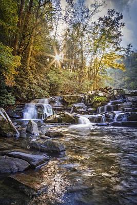 Sunlight At The Falls Print by Debra and Dave Vanderlaan