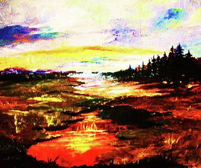 Painting - Sunlight In The Marshland by Al Brown