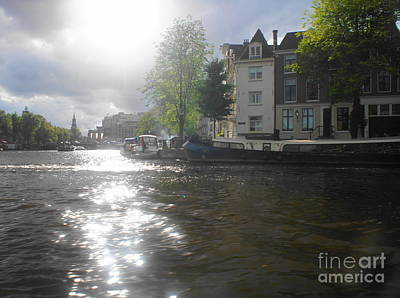 Photograph - Sunlight On Canal In Amsterdam by Therese Alcorn