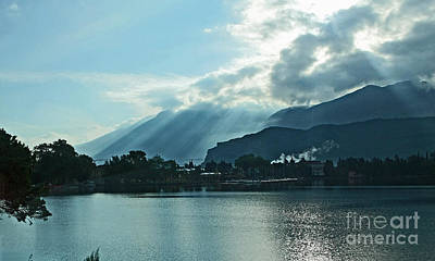 Photograph - Sunlight On Lake Garda by Liz Alderdice