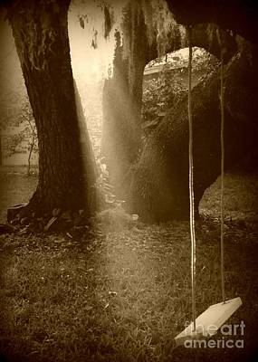 Live Oaks Digital Art - Sunlight On Swing - Sepia by Carol Groenen