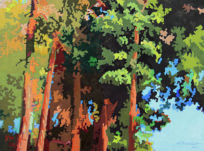 Painting - Sunlight On Trees by John Lautermilch