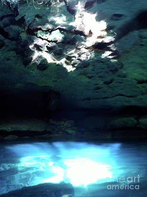 Mystifying Photograph - Sunlight Reflections In The Cenote by D Hackett