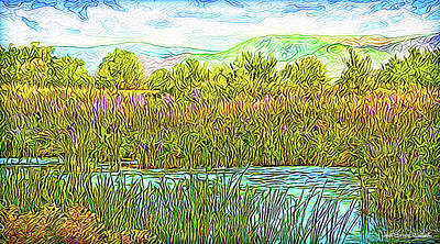 Digital Art - Sunlight Shimmer - Pond In Boulder County Colorado by Joel Bruce Wallach